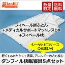 ダンフィル快眠寝具5点セット フィベール掛け布団とフィベールピローとメディカルサポートマットレスDXの3点のセットにピロケース、シ…