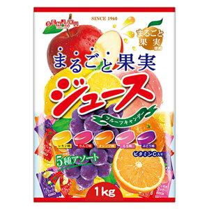 [大容量1kg×1袋]1kgまるごと果実ジュースキャンデー 扇雀飴本舗 送料無料 あめ 飴