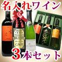 名入れ ワイン 3本セット 彫刻ボトル (カベルネ・ソーヴィニョン シャルドネ メルロー スパークリングワイン 等) 飲み比べセット ワインは6種類からお好きな3本選べます 結婚祝い 記念日 クリスマス