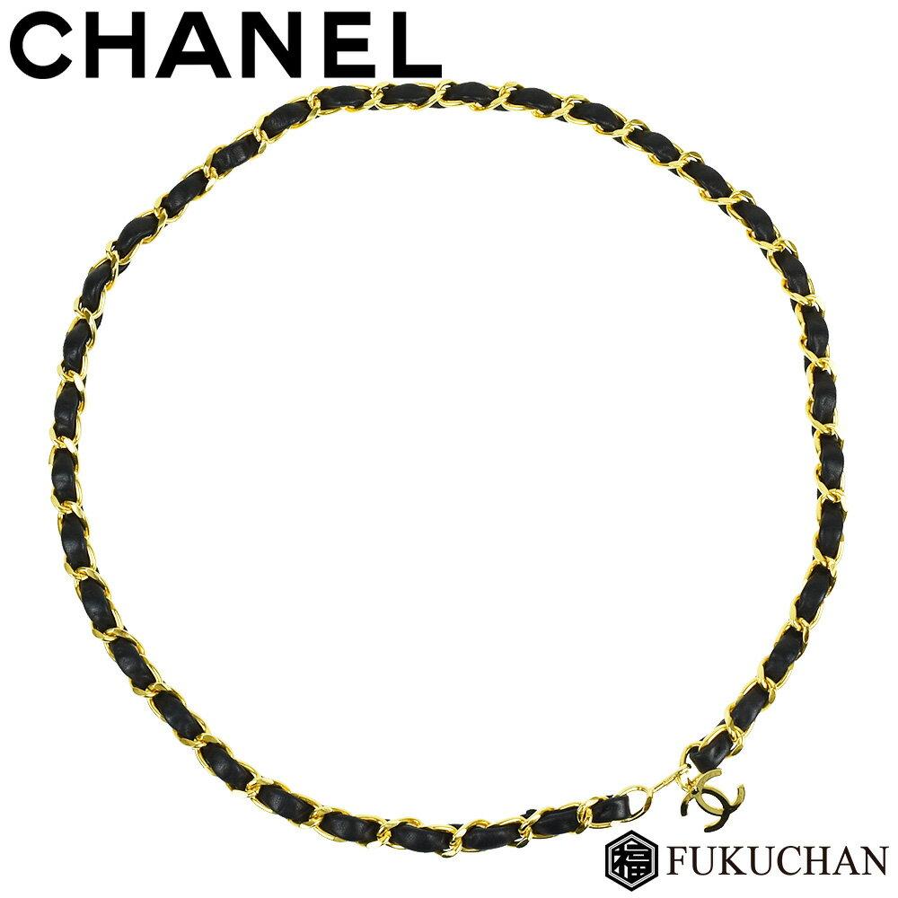 【CHANEL/シャネル】ココマーク チェーンベルト ブラック×ゴールド金具 ラムスキン×GP 【中古】