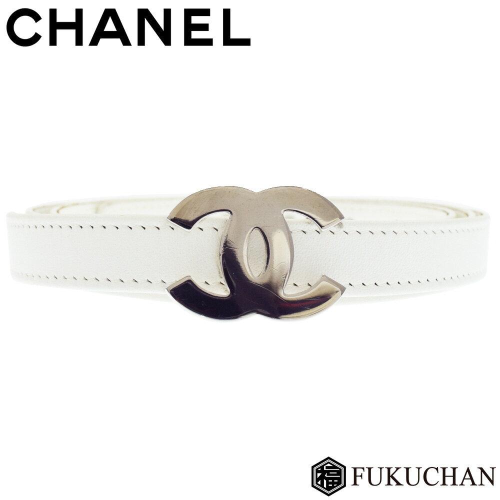 【CHANEL/シャネル】ココマーク ベルト ホワイト×シルバー金具 ラムスキン 【中古】