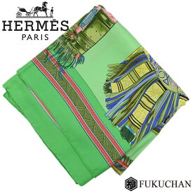 【HERMES/エルメス】カレ90/大判スカーフ EUIRS DU DESERT(砂漠の首飾り) グリーン系×マルチカラー シルク100% 【中古】