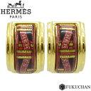 ◆16800円 → 13800円◆HERMES エルメス エマイユ 七宝焼き イヤリング ゴールド×レッド/GP 【中古】