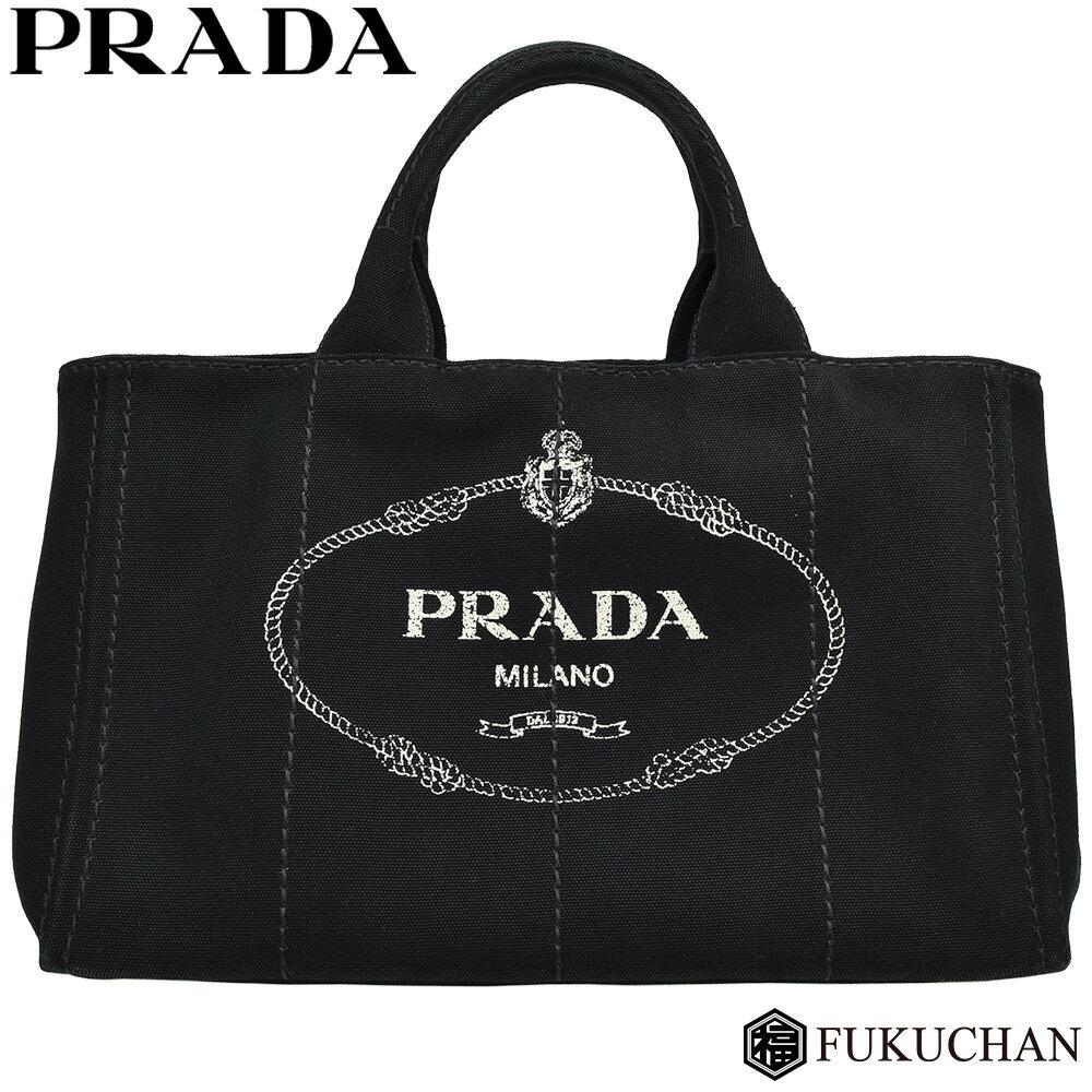 【PRADA/プラダ】CANAPA/カナパ トートバッグ NERO(ブラック)/1BG642 【中古】≪送料無料≫