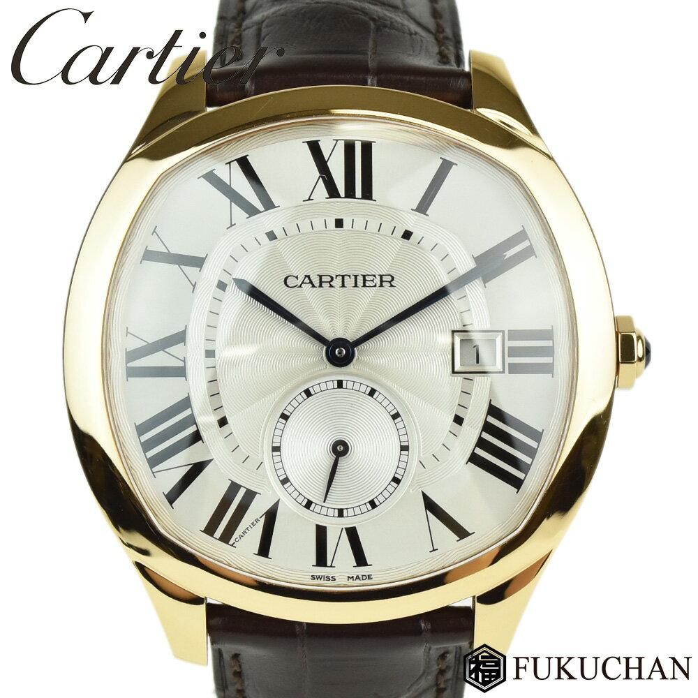 【Cartier/カルティエ】DRIVE DE CARTIER WATCH ドライブ ドゥ カルティエ ウォッチ メンズ 腕時計/シルバー文字盤 ピンクゴールド(AU750)×レザーWGNM0003 【中古】≪送料無料≫