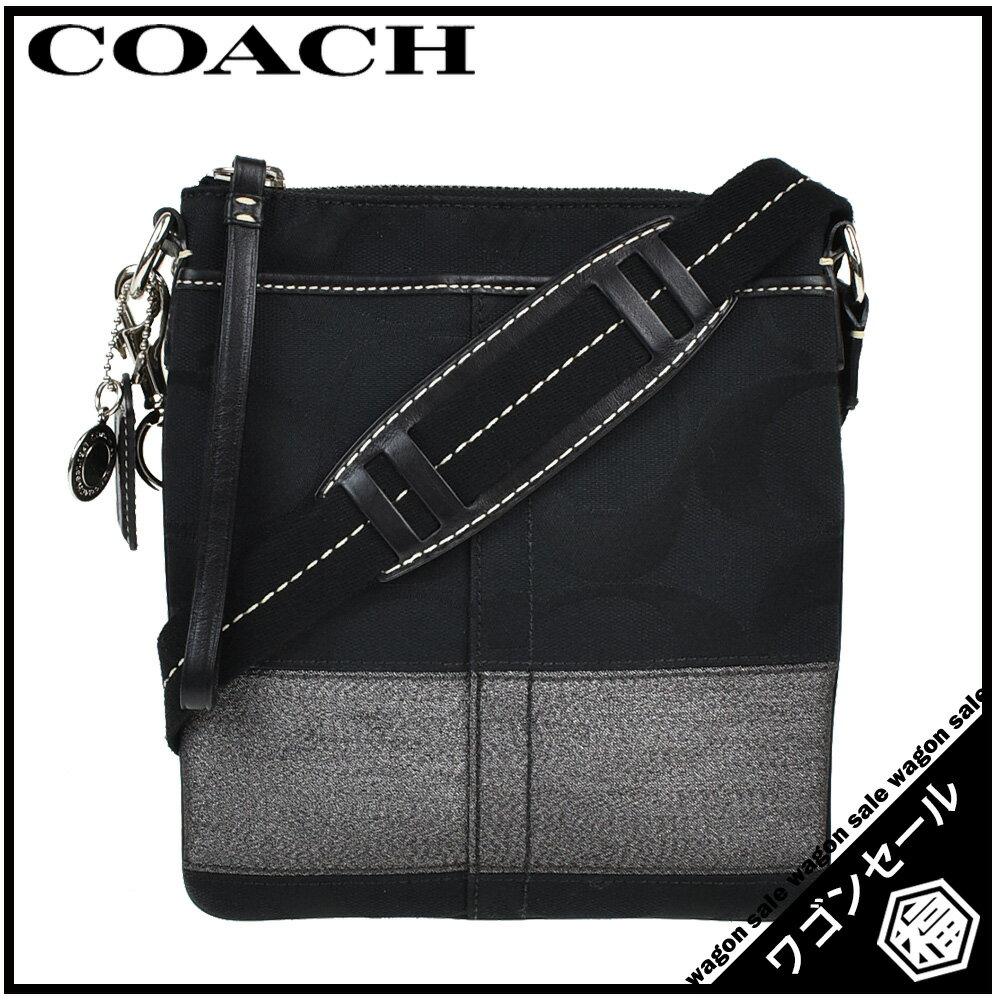 【COACH/コーチ】 シグネチャー キャンバス  ショルダーバッグ ブラック×グレー シルバー金具 10129  【中古】≪送料無料≫