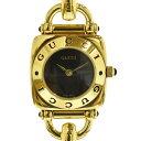 ◆17800円 → 15800円◆GUCCI グッチ 6300L レディースウォッチ 腕時計 GP×レザー 黒文字盤 【中古】