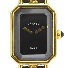 CHANEL シャネル 腕時計 プルミエール Sサイズ レディースウォッチ QZ ラムスキン×GP ブラック×ゴールド H0001 レディース【中古】【送料無料】