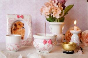 送料無料 ペット仏具 ペット仏壇 ペット供養 おしゃれで可愛い ペット用 ご供養品 アラベスク柄 Grace ピンク