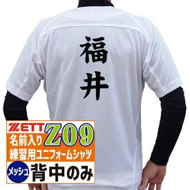 ZETT ゼット 野球ユニフォーム 昇華プリント 名前入り練習用ユニフォームシャツ・フルオープンシャツ (メッシュ) Z09タイプ 背中のみ BU1181MS-Z09【野球 ソフトボール ユニフォーム 練習 ネーム入り 名前入り 少年野球 高校野球 ボーイズ】【02P03Dec16】【RCP】