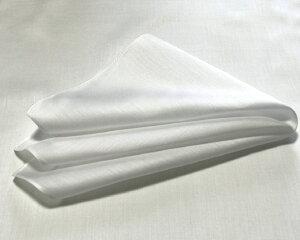 ハンカチ白 高級サテン 36cm 3枚組 日本製 白ハンカチ 綿100% 染色用 刺繍用 ポケットチーフ ブライダル 送料無料