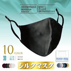 シルクマスク シルク100% 絹 マスクケース付き アジャスター付き 絹マスク 個包装 大人 保湿 冷感 接触冷感 マスク 女性 黒 繰り返し 洗えるマスク シルク 大人用