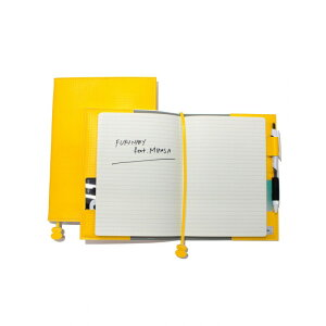 ノートカバー A5 [イエロー 黄色|バレーボール] スケジュール帳 手帳|ペンホルダー ポケット 内蔵