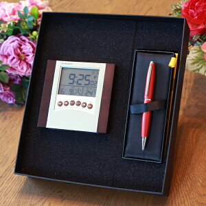 電波時計 + 高級 ボールペン  クロス ギフトセット | 名入れ 退職祝 還暦祝 置き時計 記念品 プレゼント ギフト 誕生日 卒業記念 CROSS 時計 電波 クロック ペン