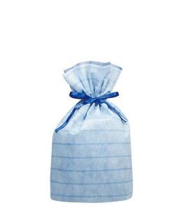 不織布リボン付巾着袋(底マチ付)ボーダーLブルー310幅×430高(300)