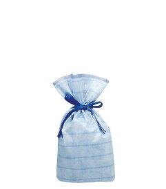 (お徳用)不織布リボン付巾着袋(底マチ付)ボーダーMブルー240幅×360高(240)