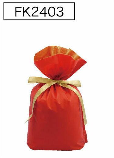 梨地リボン付き巾着袋(底マチ付き)レッドM 200枚(20枚×10P)サイズW240×H360×マチ120mm