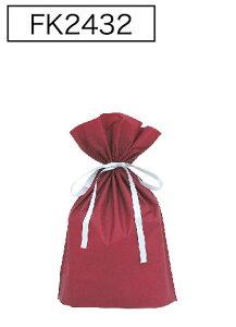 梨地リボン付き巾着袋(底マチ付き)ワインレッドS 200枚(20枚×10P)サイズW170×H280×マチ80mm