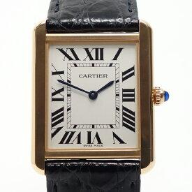 【中古】カルティエ CARTIER 時計 タンクソロ LM 18K PG革 クオーツ W5200025 Dバックル付 替えベルト付 39251