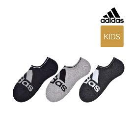 【キッズ adidas(アディダス) 3足組 ビッグロゴ 靴から見えにくいゴースト丈(くるぶし下丈)ソックス】19-21cm 21-23cm 23-25cm 123-10b1 ボーイズ スポーツソックス 靴下 カジュアル 福助 フクスケ