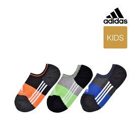 【キッズ adidas(アディダス) 3足組 3ライン 靴から見えにくいゴースト丈(くるぶし下丈)ソックス】19-21cm 21-23cm 23-25cm 123-10b2 ボーイズ スポーツソックス 靴下 カジュアル 福助 フクスケ