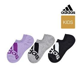【ガールズ adidas(アディダス) 3足組 ビッグロゴ 靴から見えにくいゴースト丈(くるぶし下丈)ソックス】19-21cm 22-24cm 323-10g1 キッズ スポーツソックス 靴下 カジュアル 福助 フクスケ