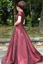 【白雪姫×クラシカル】パフスリーブの袖付きロングフレアードレス グリーン 緑 レッド 赤 パープル 紫 ゴールド 金色…