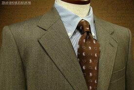 [秋冬] 三ツ釦段返りブラウン系 ミニヘリンボーン柄 アメリカントラッドスーツ [ 14033 ] トラッドスーツ