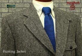 ■3ツ釦段返りハンティングジャケット HARRIS TWEED JACKET / ハリスツイード ( 08グレーヘリンボーン ) FSK3535-08