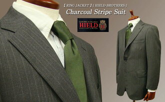 Fall/winter [HIELD BROTHERS] 3 star buttons-return charcoal stripe suit (AB form) (23F14X) [STYLE 172] (MSRP £ 110,000 plus tax)