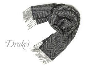 DRAKE'S / ドレイクス マフラー ( ネイビー×グレーヘリンボーン ) 18755-001 【楽ギフ_包装】