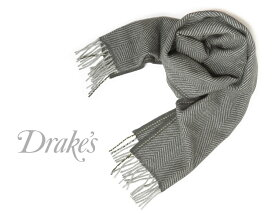 DRAKE'S / ドレイクス マフラー ( スレートグレー系×グレーヘリンボーン ) 18755-005 【楽ギフ_包装】