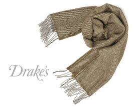 DRAKE'S / ドレイクス マフラー ( シナモンブラウン系×グレーヘリンボーン ) 18755-007 【楽ギフ_包装】