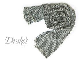 DRAKE'S / ドレイクス マフラー ( ライトグレー×ブルー×チャコール千鳥 ) 18763-005 【楽ギフ_包装】