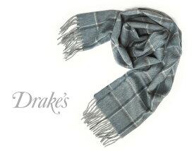 ■TRAD SALE!DRAKE'S / ドレイクス マフラー ( ブルー×ネイビーチェック ) 18764-004 【楽ギフ_包装】