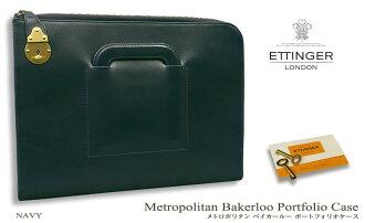 ETTINGER and Ettinger MT2073 / Metropolitan Bakerloo portfolio case Metropolitan Bakerloo Portfolio Case (NAVY) (evening / Briefcase / leather bags / men's / business bags /BAG)
