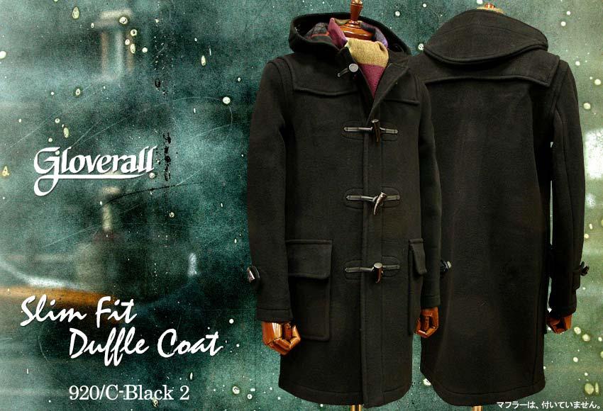 ■TRAD SALE!GLOVERALL / グローバーオール スリムフィット・ダッフルコート メンズ( 920 / C ) ブラック2●