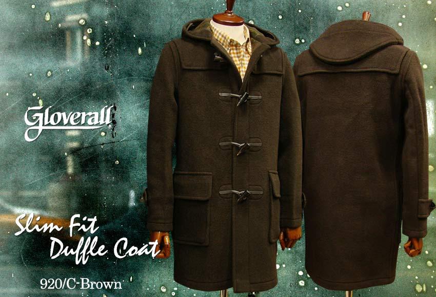 ■TRAD SALE!GLOVERALL / グローバーオール スリムフィット・ダッフルコート メンズ ( 920 / C ) ブラウン●