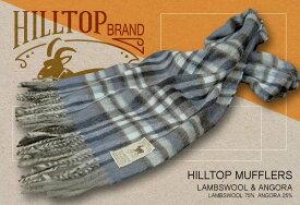 HILLTOP / ヒルトップ マフラー LAMBSWOOL & ANGORA MUFFLERS FAH 01621 A1 BLUE ( ブルー系チェック ) 【楽ギフ_包装】