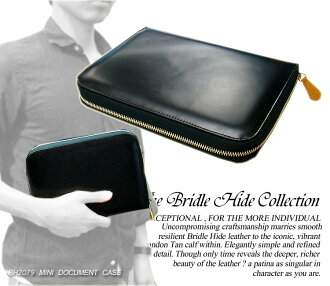 BH2079 MINI DOCUMENT CASE (BLACK BRIDLE)) (using the high-quality metal Zip) mini-document case (black) (assisted / leather bags / men's / business bag / BAG)