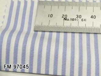 Original order shirt [D fusion line] ● FM97045 sax blue system stripe 50th single yarn 100%cotton