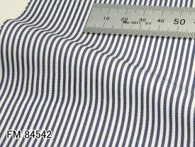 オリジナルオーダーシャツ●FM84542白×ネイビーのストライプ 100番手双糸 100%cotton