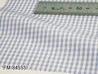Original custom-made shirt-FM84555 White x Saxe blue gingham check pattern 100 count double thread 100 %cotton