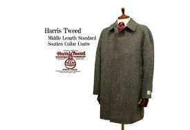 Harris Tweed / ハリスツイード ミドルレングス・スタンダード・ステンカラーコート ハーフコート ( グレーヘリンボーン ) 9504-08