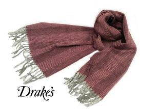 ■TRAD SALE!DRAKE'S / ドレイクス マフラー ( 杢調ワイン地にスモーク ホワイト系ストライプ ) 19754-003【楽ギフ_包装】