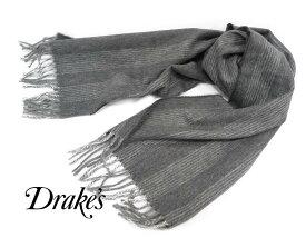 ■TRAD SALE!DRAKE'S / ドレイクス マフラー ( ミディアムグレー地に オフホワイトストライプ ) 19754-005【楽ギフ_包装】