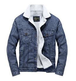 秋冬 メンズジャケット デニムジャケット 裏起毛 メンズコート カジュアル トップス アウター 暖かい 快適 デニム中綿 メンズ 中綿コート デニム