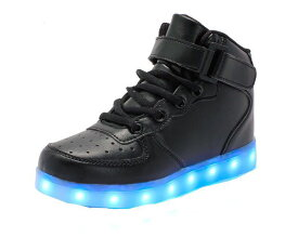 キッズシューズ 光る夜光靴 ハイカットLED靴 7色発光モードスニーカー靴 子供用 USB充電式【期間セール】