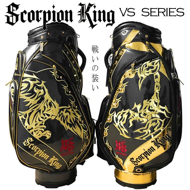 【期間限定!ヘッドカバー付!】スコーピオンキング キャディバッグ SKCB-002 ブラック/ブラック×ゴールド 9.5型 4.8kg Scorpion King
