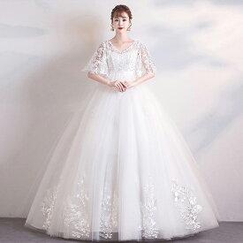 花嫁 ウェディングドレス ハイウエスト 妊婦もOK 大きいサイズ 袖あり Vネック 着痩せ ぽっちゃり 結婚式 二次会 ドレス 締め上げタイプ レース ロングドレス ウエディングドレス 撮影用 da175t2t2g5